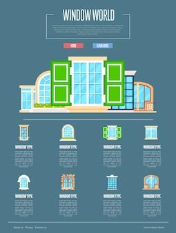 Concepto de mundo de ventana en diseño plano