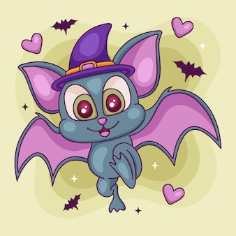 Concepto de murciélago de halloween dibujado a mano