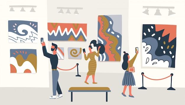 Concepto de museo de arte abstracto contemporáneo. visitantes de la exposición mirando la pintura colgada en la pared de la galería, personas viendo la exhibición del museo. ilustración.