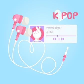 Concepto de música k-pop con aplicación de música y auriculares.