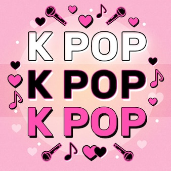 Concepto de música k-pop con elementos musicales ilustrados.
