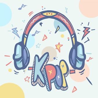Concepto de música k-pop ilustrado