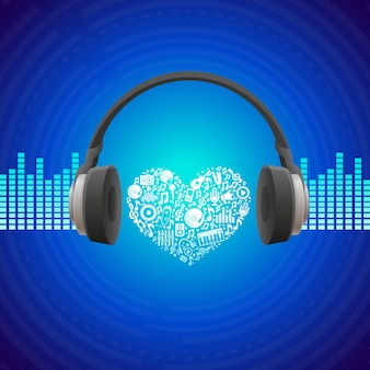 Concepto de la música del vector - fondo abstracto con auriculares