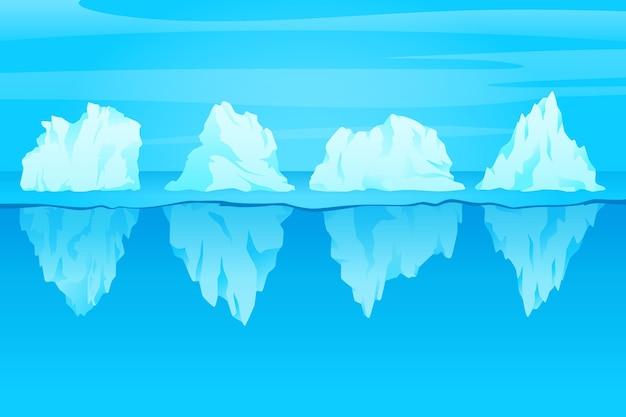 Concepto de naturaleza de colección de iceberg