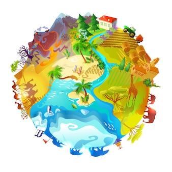 Concepto de naturaleza de planeta tierra de dibujos animados