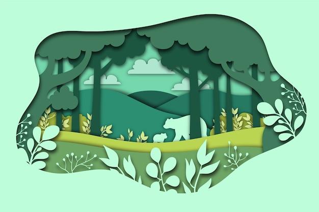Concepto de naturaleza verde en papel estilo