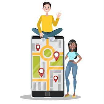 Concepto de navegación gps móvil. idea de tecnología moderna que ayuda a encontrar la dirección correcta o la ruta a la ubicación en el mapa. concepto de turismo. ilustración
