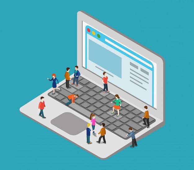 Concepto de navegación por internet pequeñas personas en una gran computadora portátil de gran tamaño presionando las teclas de los botones de la computadora grande navegando en la página web ilustración isométrica