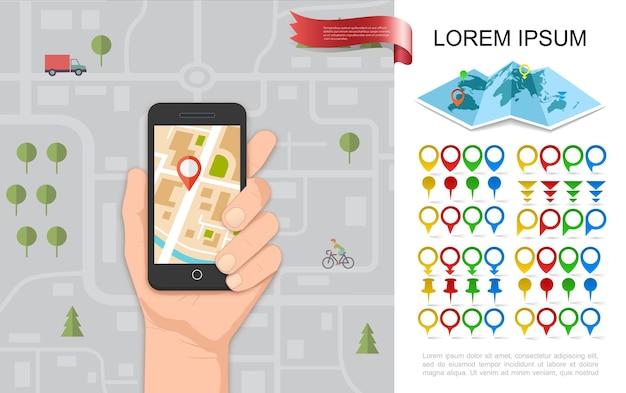 Concepto de navegación plana con mano masculina sosteniendo teléfono con navegador gps mapa de la ciudad pines y punteros coloridos