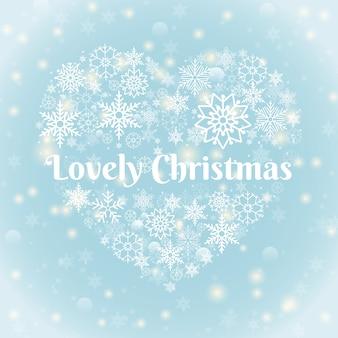 Concepto de navidad - encantadores textos navideños en copos de nieve en forma de corazón sobre fondo azul cielo con chispas.