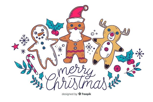 Concepto de navidad con fondo dibujado a mano