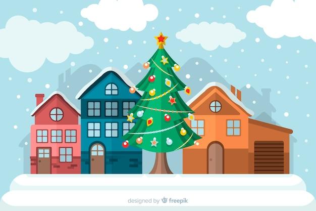 Concepto de navidad con fondo de diseño plano