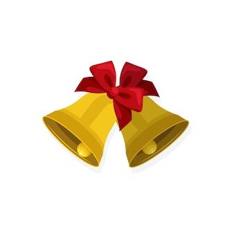 Concepto de navidad, icono plano de campanas de navidad