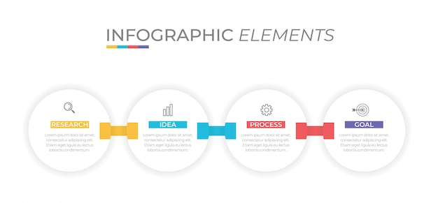 Concepto de negocio con 4 opciones, pasos o procesos.