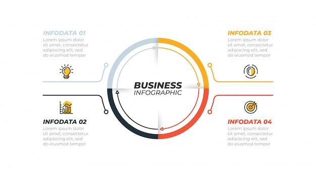 Concepto de negocio con 4 pasos, opciones. se puede utilizar para presentaciones, flujo de trabajo, diagrama, informe.