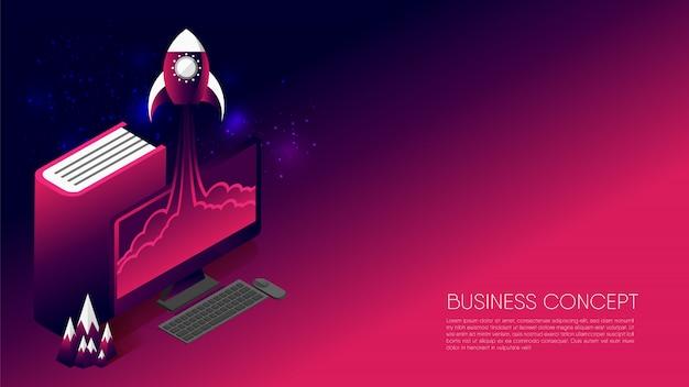 Concepto de negocio abstracto, cohete volar desde la computadora de escritorio