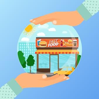 Concepto de negocio para la apertura de la institución de comida rápida.