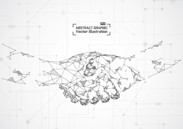 Concepto de negocio apretón de manos. malla abstracta y puntos