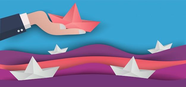 Concepto de negocio de arte de papel en arte de corte