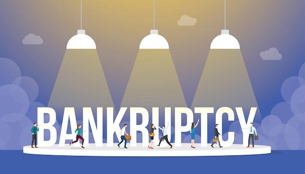 Concepto de negocio de bancarrota con personas y gran palabra o texto con estilo plano moderno