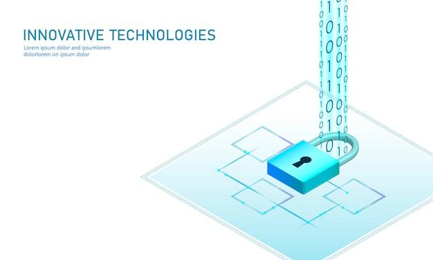 Concepto de negocio de bloqueo de seguridad isométrica de internet. azul brillante isométrica información personal conexión de datos pc smartphone tecnología futura. ilustración infografía 3d