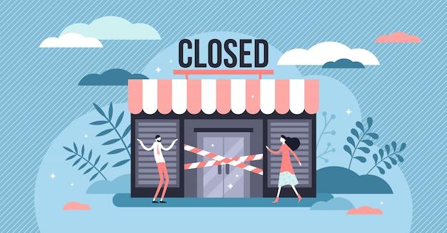 Concepto de negocio cerrado, personas pequeñas y planas