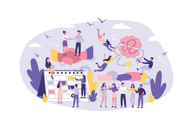 Concepto de negocio colaboración, cooperación, apoyo, outsourcing, asociación, acuerdo. trabajo en equipo de oficinistas, gerentes, abogados. lluvia de ideas.