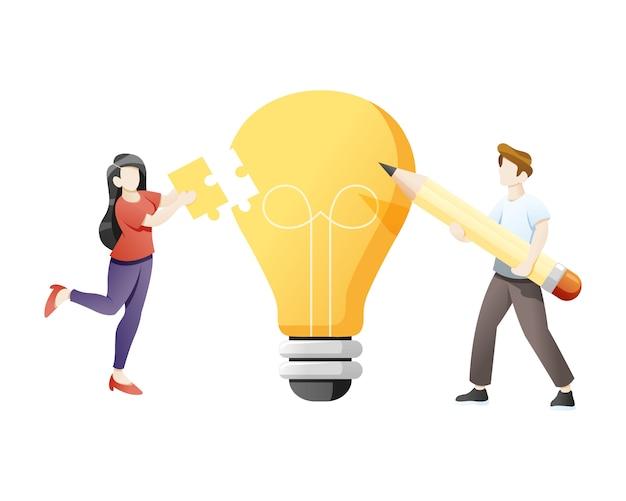 Concepto de negocio de colaboración y lluvia de ideas.