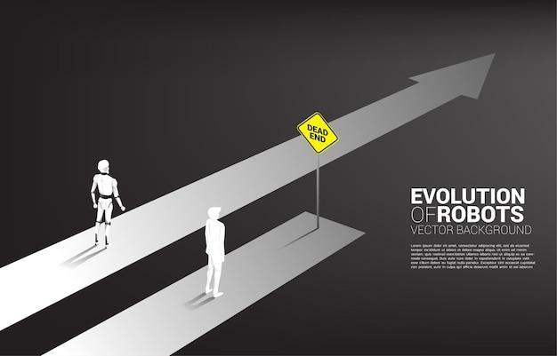 Concepto de negocio de competencia humana y de robots.