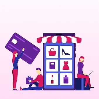 Concepto de negocio de compras en línea