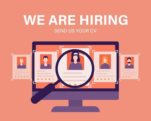 Concepto de negocio de contratación y contratación de personal con lupa e ilustración de candidatos para empleados