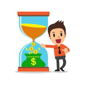 Concepto de negocio convertir tiempo en dinero con el empresario