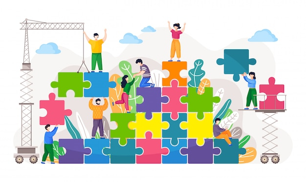 Concepto de negocio de coworking. compañeros de trabajo ensamblando rompecabezas. metáfora de trabajo en equipo