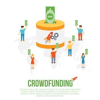 Concepto de negocio de crowdfunding