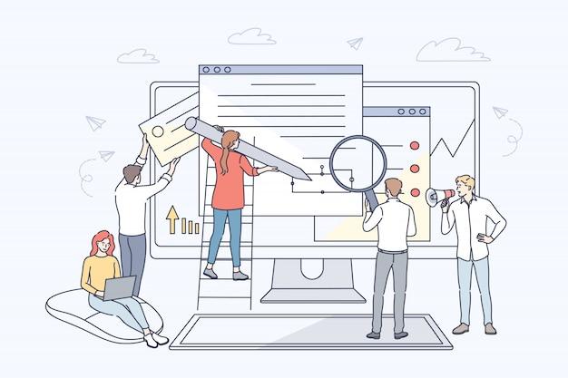 Concepto de negocio, desarrollo web, colaboración, programación, trabajo en equipo.