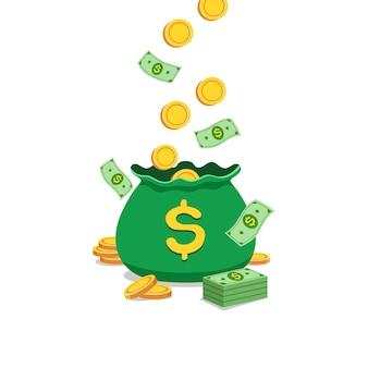 Concepto de negocio de dibujos animados bolsa de dinero grande