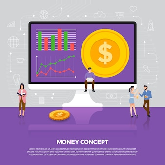 Concepto de negocio de dinero. grupo de personas desarrollo icono moneda dinero. ilustrar.