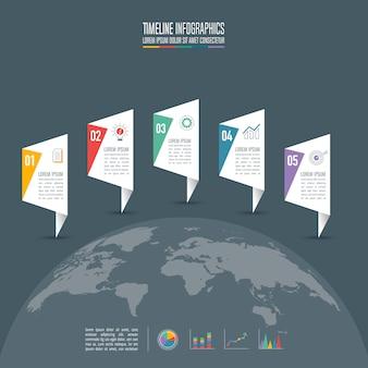 Concepto de negocio de diseño de infografía con 5 opciones.
