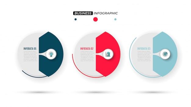 Concepto de negocio con diseño en papel y 3 pasos.
