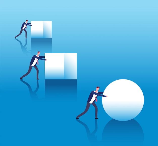Concepto de negocio eficiente. los empresarios empujan cajas y el líder inteligente rueda la pelota.