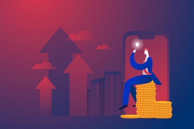 Concepto de negocio, empresario sentado sobre dinero y pensando en plan de negocios