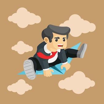 Concepto de negocio, empresario está volando en un avión de papel ilustración vectorial.
