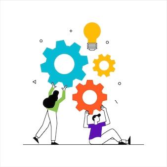 Concepto de negocio, equipo, metáfora, personas, conectar, rompecabezas, elementos, vector, ilustración, diseño plano