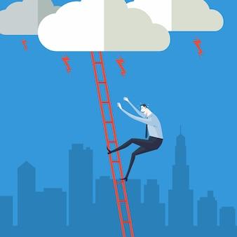 Concepto de negocio de una escalera corporativa de éxito.