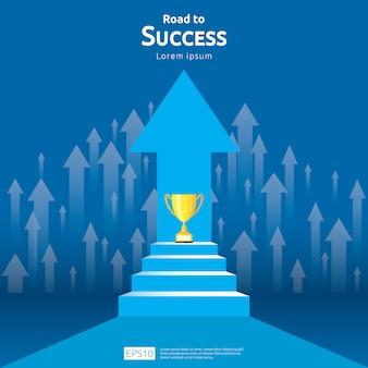 Concepto de negocio con escalera y trofeo de la copa. dirección de la flecha al ganador del éxito
