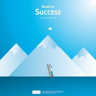 Concepto de negocio de éxito de logros con subir escaleras y meta
