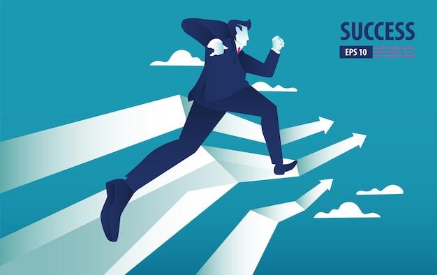 Concepto de negocio flecha con empresario en flecha volando hacia el éxito. obtener la posibilidad. ilustración vectorial de fondo