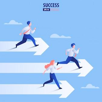 Concepto de negocio flecha con empresario en flecha volando hacia el éxito. obtener la posibilidad.
