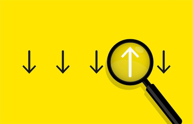 Concepto de negocio con flechas y lupa ilustración