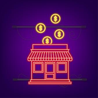 Concepto de negocio de franquicia, sistema de marketing de franquicia. estilo neón. ilustración vectorial.